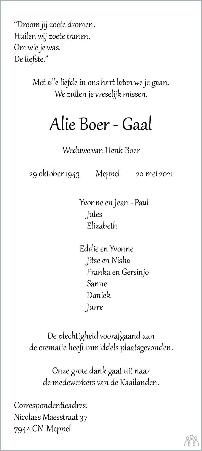 Overlijdensbericht van Alie Boer-Gaal in Meppeler Courant
