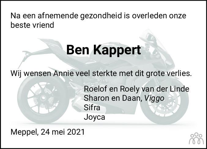 Overlijdensbericht van Berend Jan (Ben) Kappert in Meppeler Courant