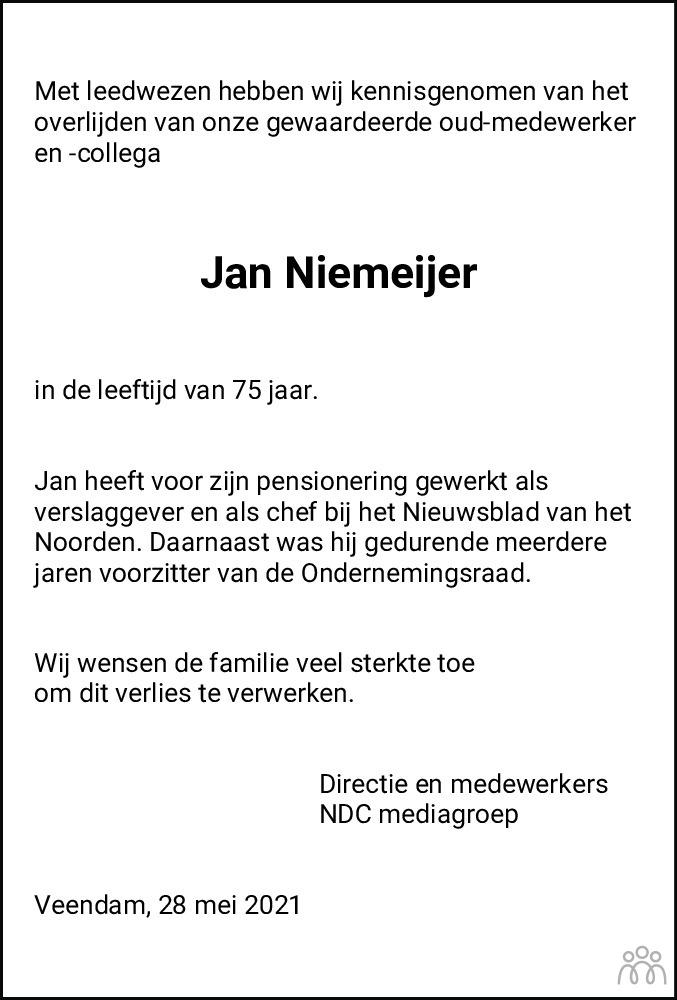 Overlijdensbericht van Jan Niemeijer in Dagblad van het Noorden