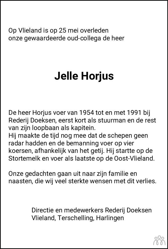 Overlijdensbericht van Jelle (Kapitein) Horjus in Leeuwarder Courant