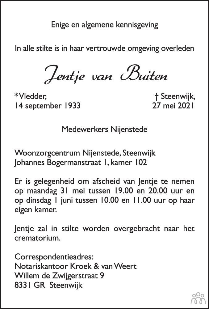 Overlijdensbericht van Jentje van Buiten in Meppeler Courant