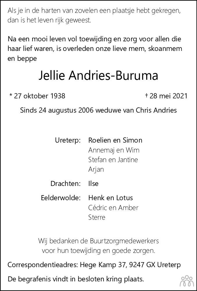 Overlijdensbericht van Jellie Andries-Buruma in Leeuwarder Courant