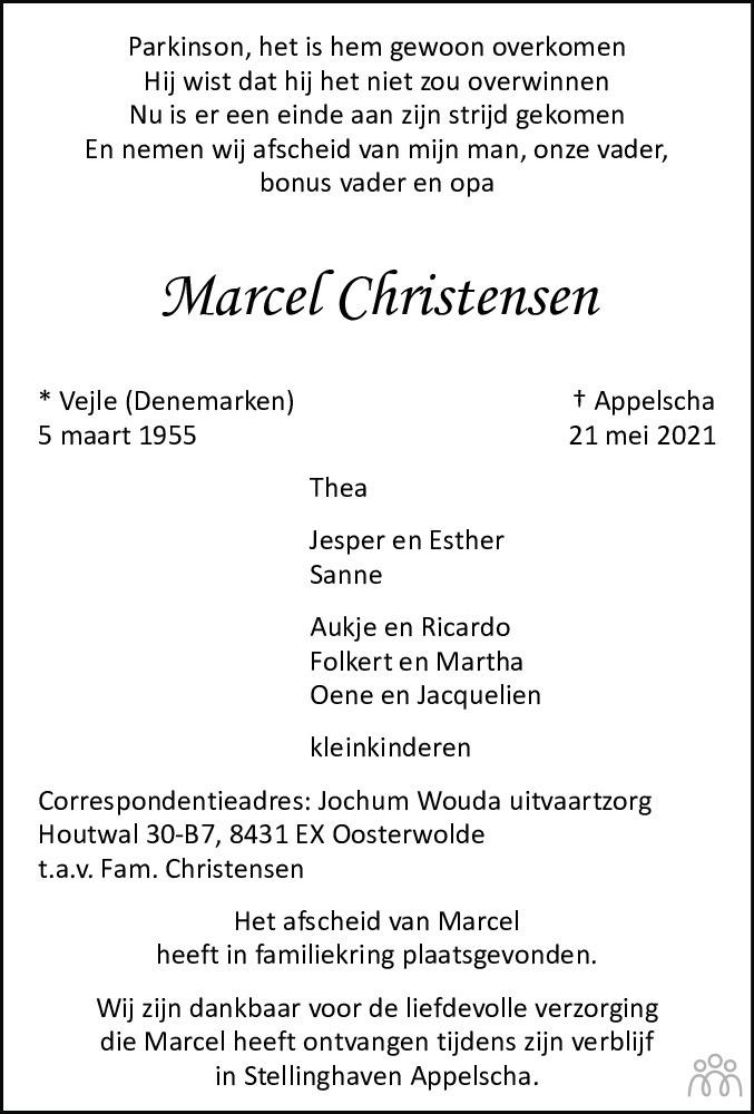 Overlijdensbericht van Marcel Christensen in Nieuwe Ooststellingwerver
