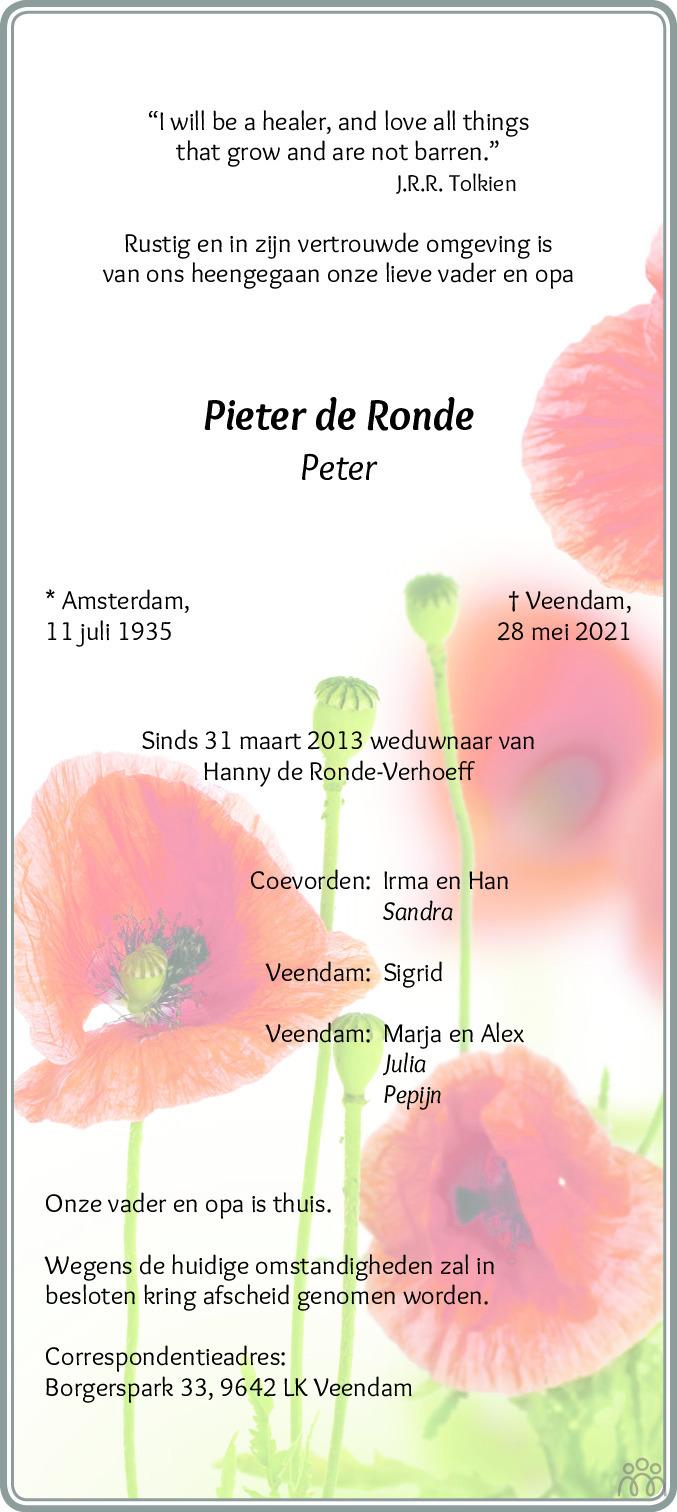 Overlijdensbericht van Pieter (Peter) de Ronde in Dagblad van het Noorden