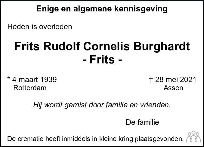 Overlijdensbericht van Frits Burghardt in Asser Courant