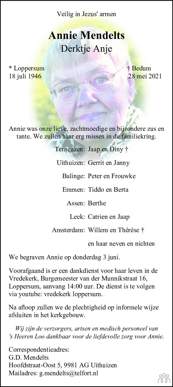 Overlijdensbericht van Annie (Derktje Anje) Mendelts in Dagblad van het Noorden