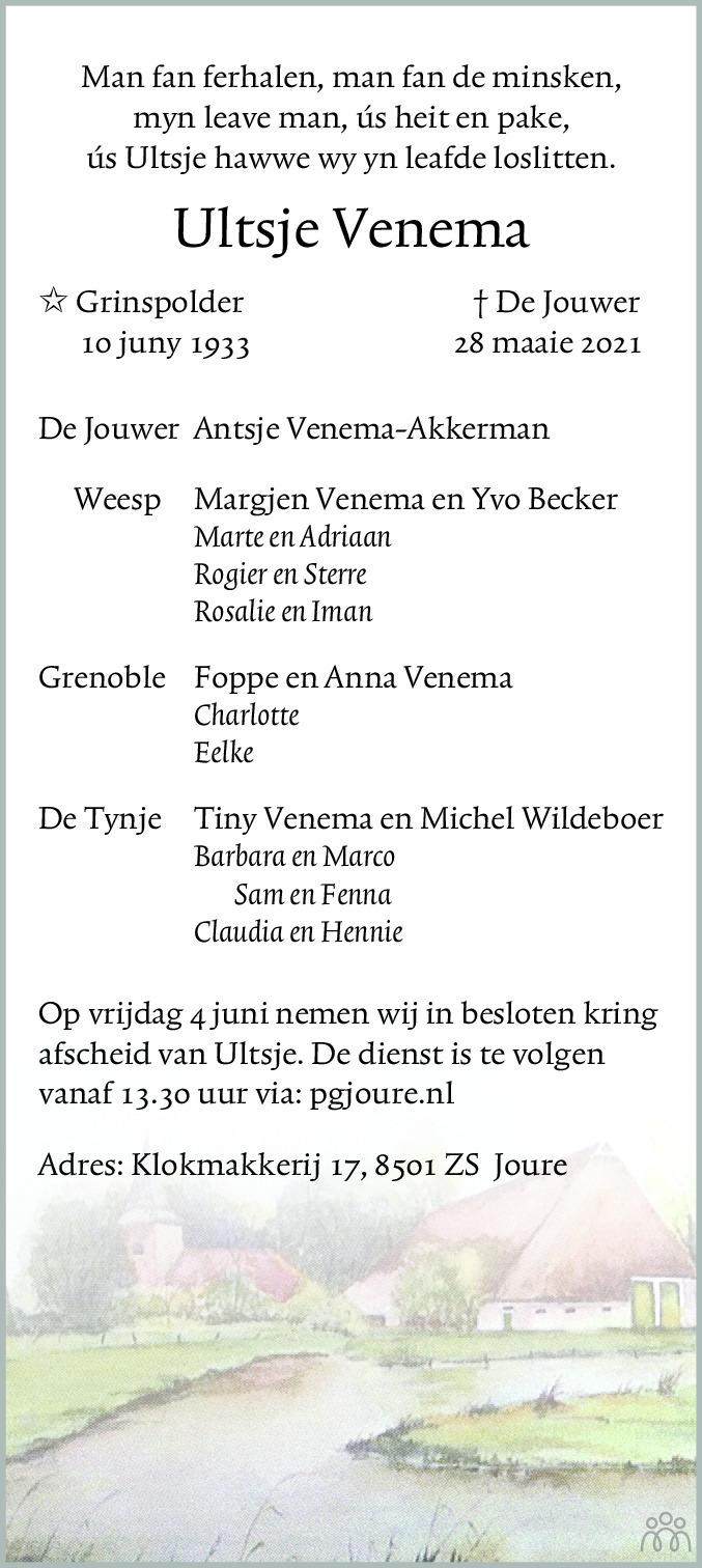 Overlijdensbericht van Ultsje Venema in Leeuwarder Courant