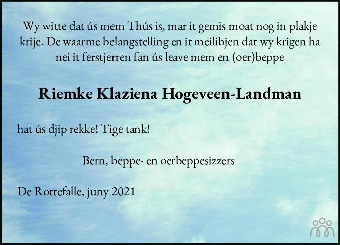 Overlijdensbericht van Riemke Klaziena Hogeveen-Landman in Drachtster Courant