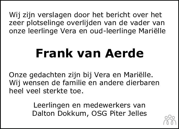 Overlijdensbericht van Frank van Aerde in Leeuwarder Courant