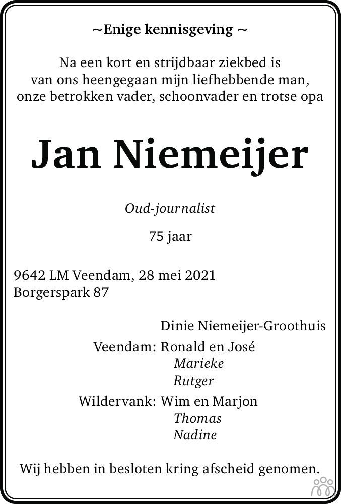 Overlijdensbericht van Jan Niemeijer in Kanaalstreek Ter Apeler Courant