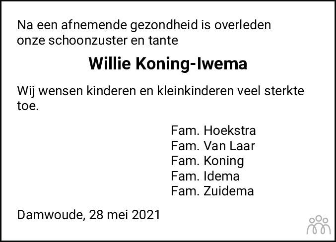 Overlijdensbericht van Willemina (Willy) Koning-Iwema in Dockumer Courant