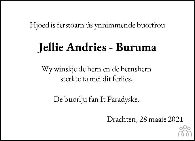 Overlijdensbericht van Jellie Andries-Buruma in Drachtster Courant