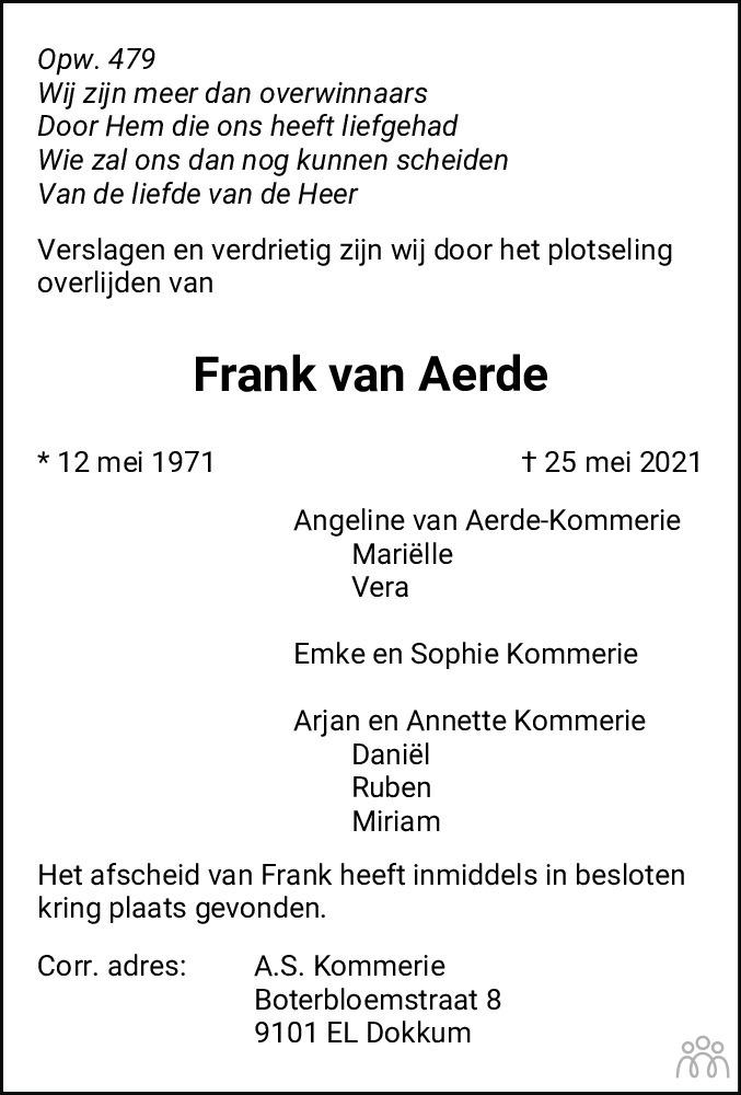 Overlijdensbericht van Frank van Aerde in Dockumer Courant