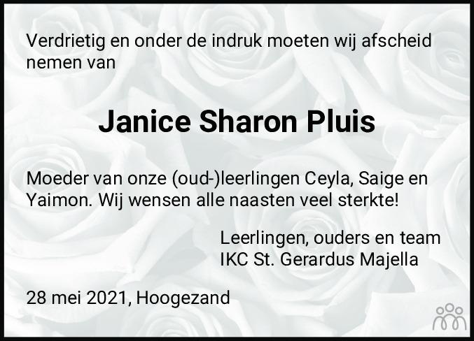 Overlijdensbericht van Janice Sharon Pluis in Dagblad van het Noorden