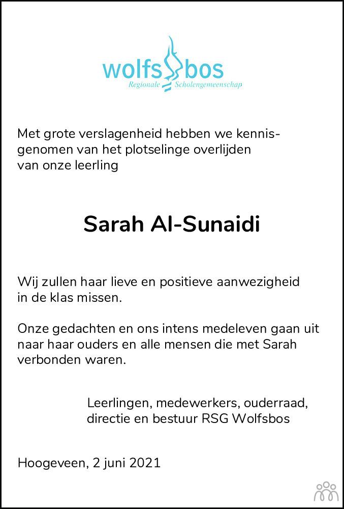 Overlijdensbericht van Sarah Al-Sunaidi in Hoogeveensche Courant
