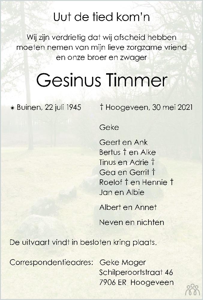 Overlijdensbericht van Gesinus Timmer in Hoogeveensche Courant