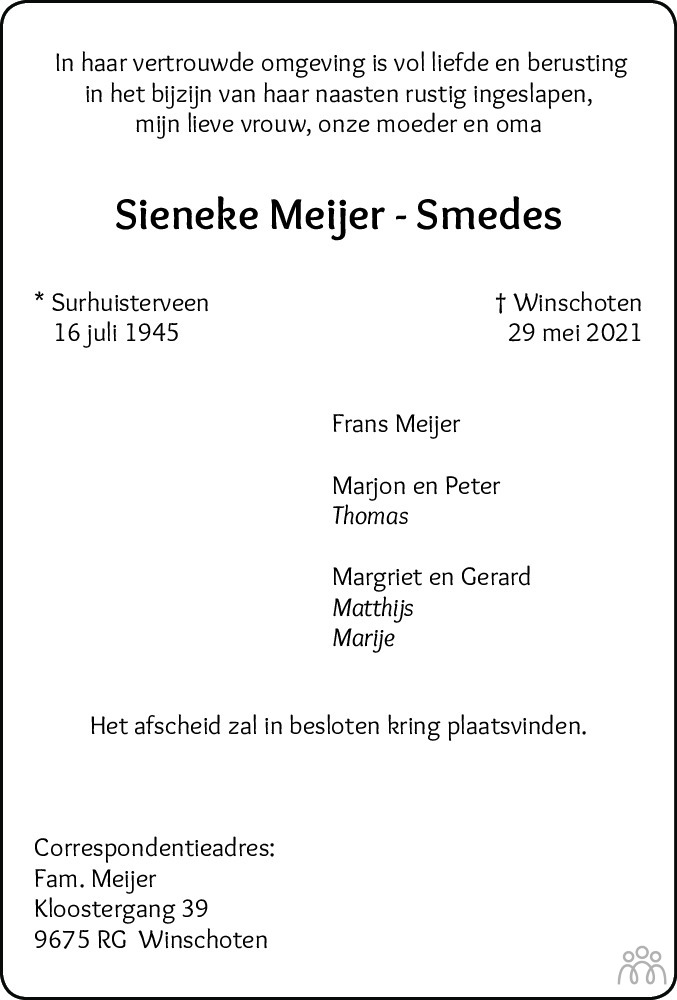 Overlijdensbericht van Sieneke Meijer-Smedes in Dagblad van het Noorden