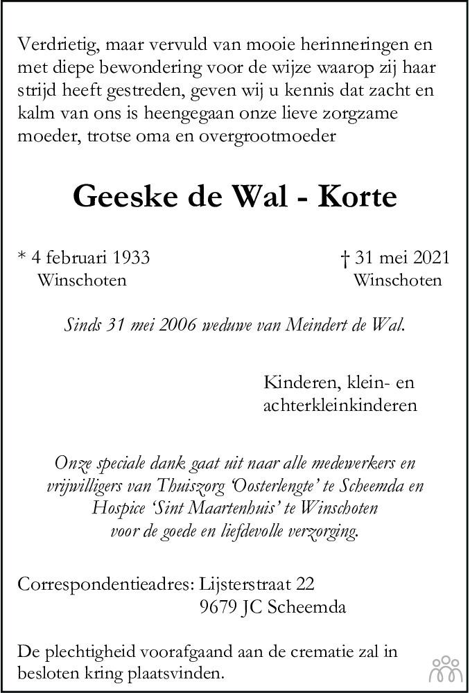 Overlijdensbericht van Geeske de Wal-Korte in Dagblad van het Noorden