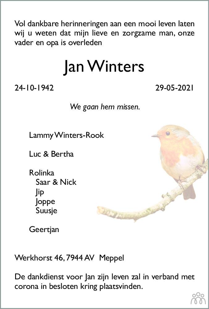 Overlijdensbericht van Jan Winters in Meppeler Courant