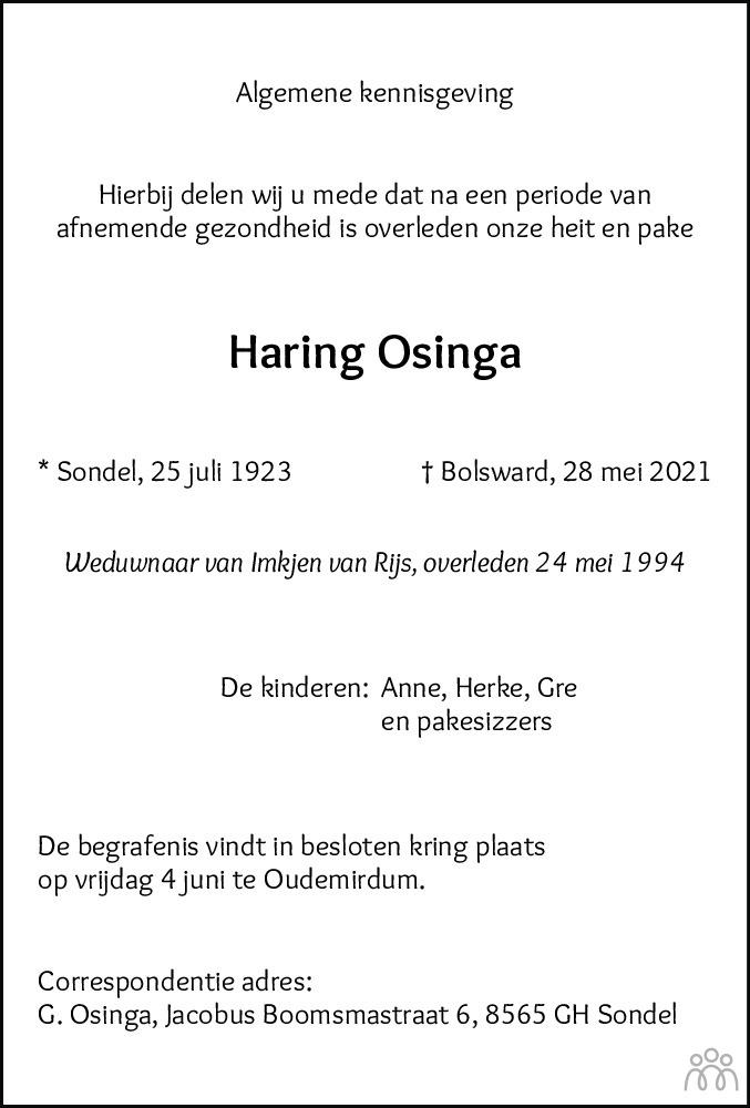 Overlijdensbericht van Haring Osinga in Balkster Courant