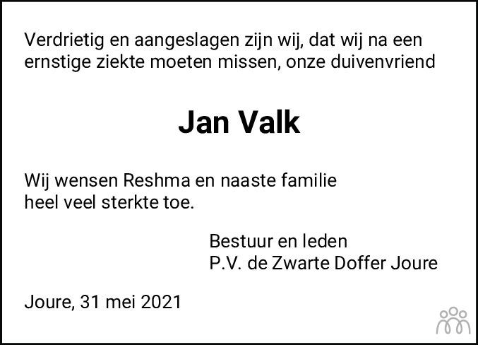 Overlijdensbericht van Jan Valk in Jouster Courant Zuid Friesland