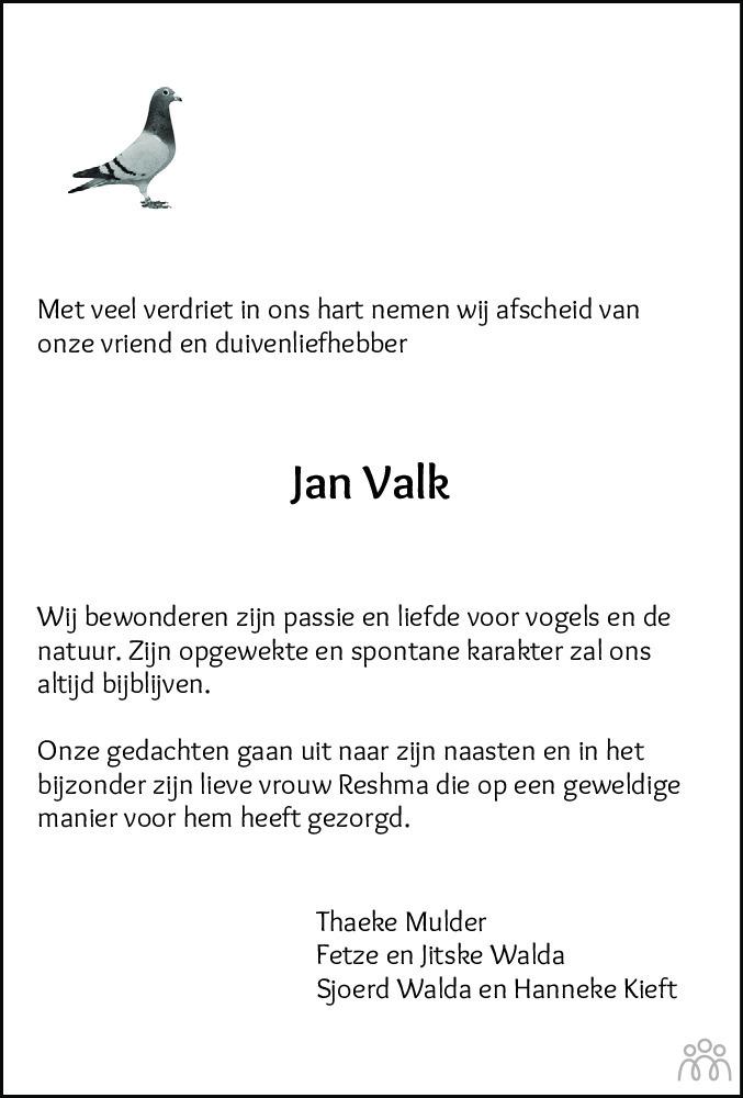 Overlijdensbericht van Jan Valk in Leeuwarder Courant