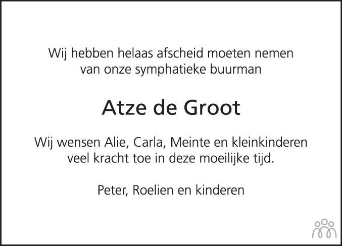Overlijdensbericht van Atze de Groot in Bolswards Nieuwsblad