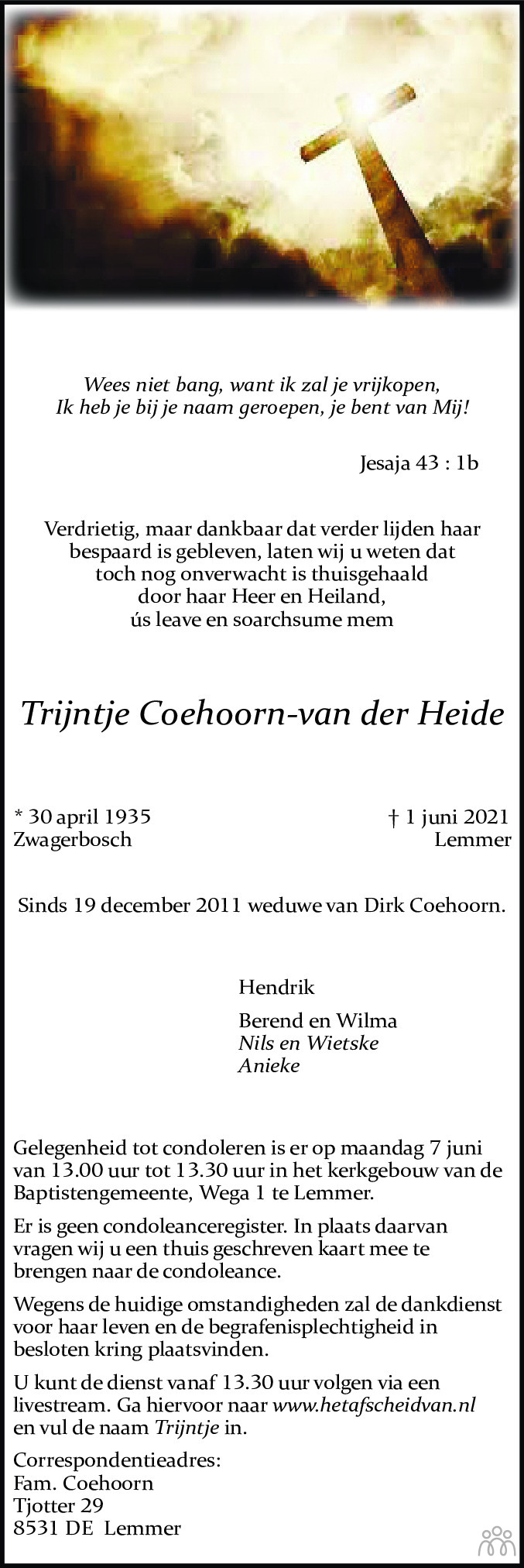 Overlijdensbericht van Trijntje Coehoorn-van der Heide in Jouster Courant Zuid Friesland