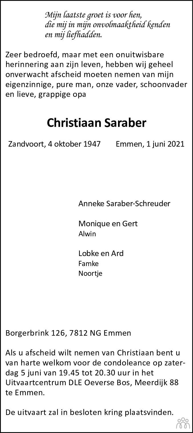 Overlijdensbericht van Christiaan Saraber in Dagblad van het Noorden