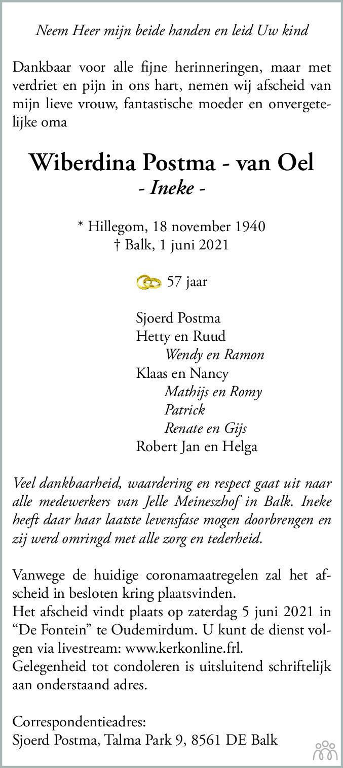 Overlijdensbericht van Wiberdina (Ineke) Postma-van Oel in Leeuwarder Courant