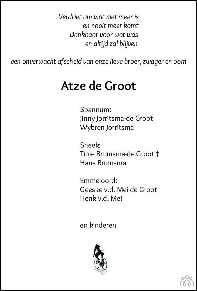 Overlijdensbericht van Atze de Groot in Leeuwarder Courant