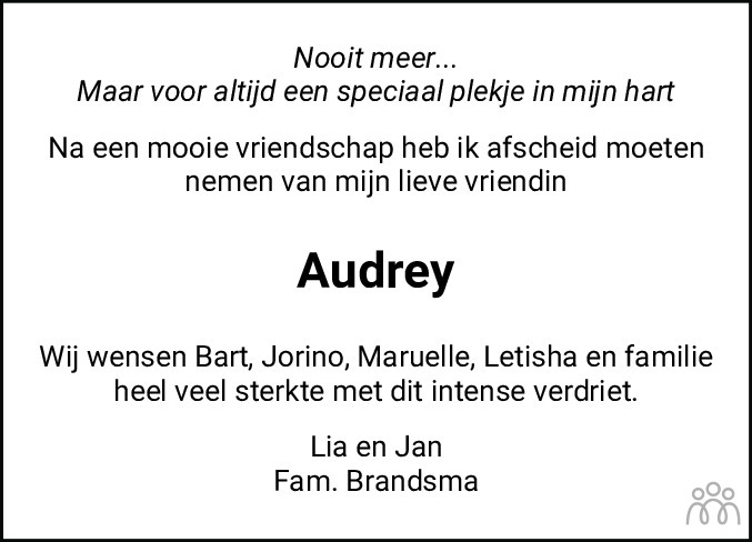 Overlijdensbericht van Audrey Florin Luimes-Lie in Leeuwarder Courant