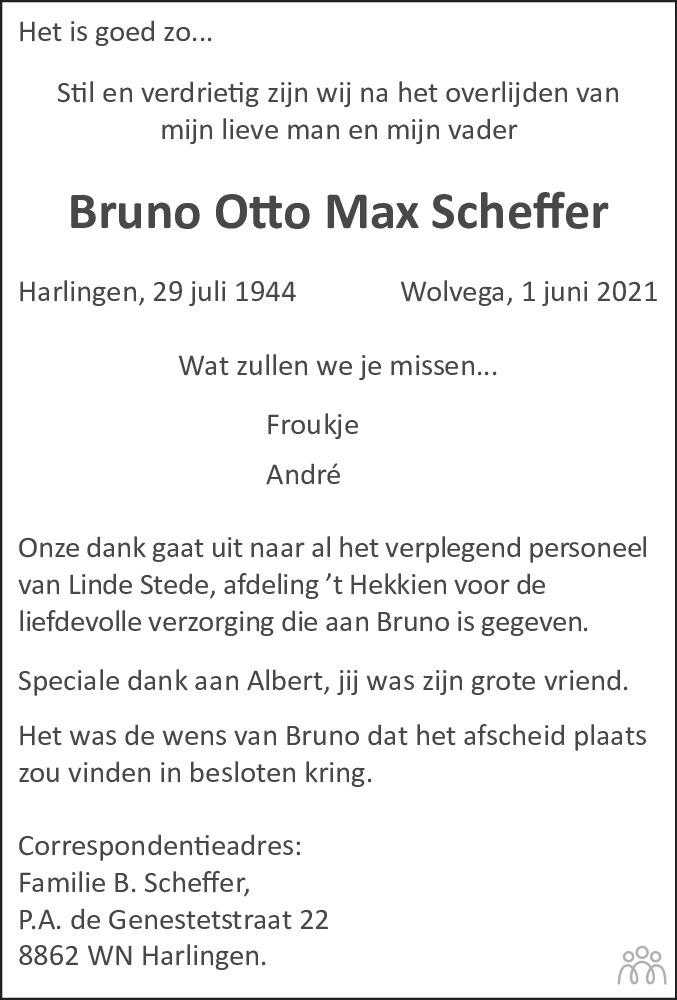 Overlijdensbericht van Bruno Otto Max Scheffer in Leeuwarder Courant