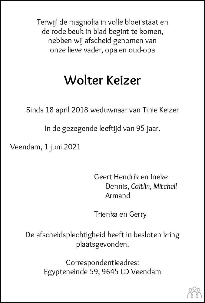 Overlijdensbericht van Wolter Keizer in Dagblad van het Noorden
