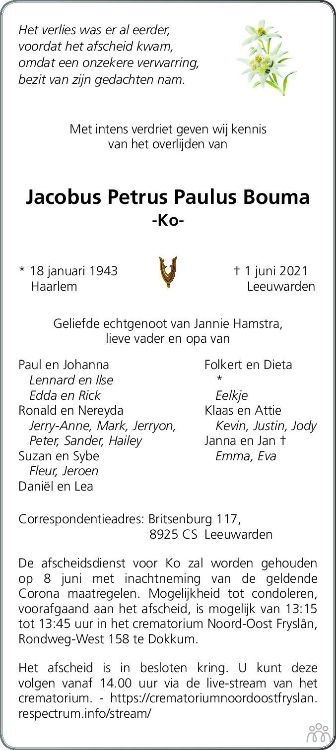 Overlijdensbericht van Jacobus Petrus Paulus (Ko) Bouma in Leeuwarder Courant