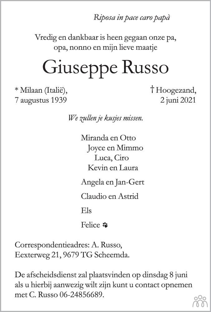 Overlijdensbericht van Giuseppe Russo in Dagblad van het Noorden
