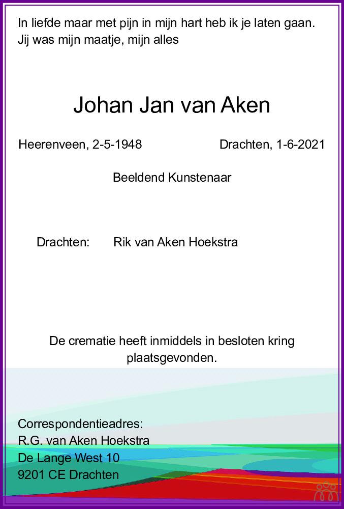 Overlijdensbericht van Johan Jan van Aken in Leeuwarder Courant