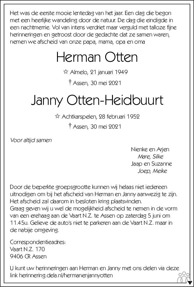 Overlijdensbericht van Herman en Janny Otten-Heidbuurt in Dagblad van het Noorden