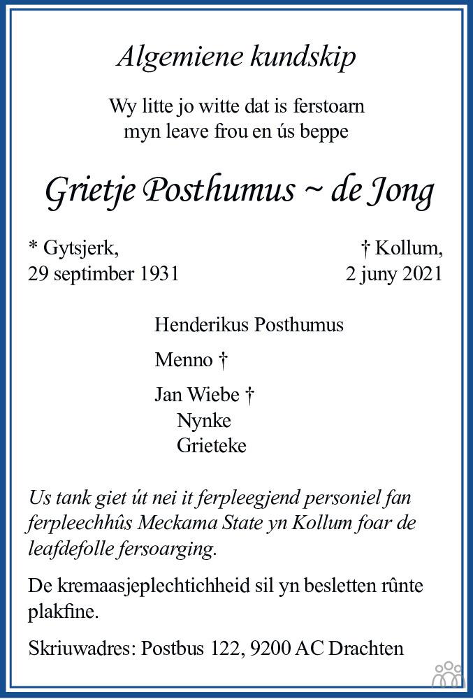 Overlijdensbericht van Grietje Posthumus-de Jong in Leeuwarder Courant