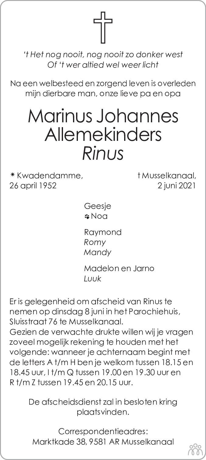 Overlijdensbericht van Marinus Johannes (Rinus) Allemekinders in Dagblad van het Noorden