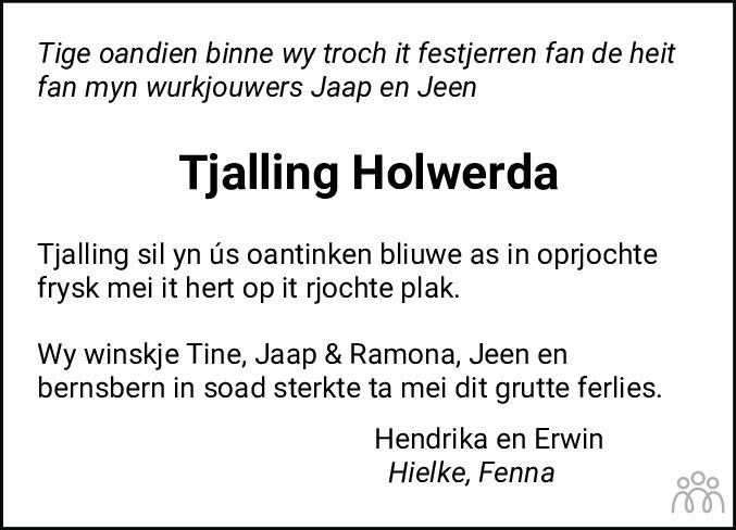Overlijdensbericht van Tjalling Holwerda in Leeuwarder Courant