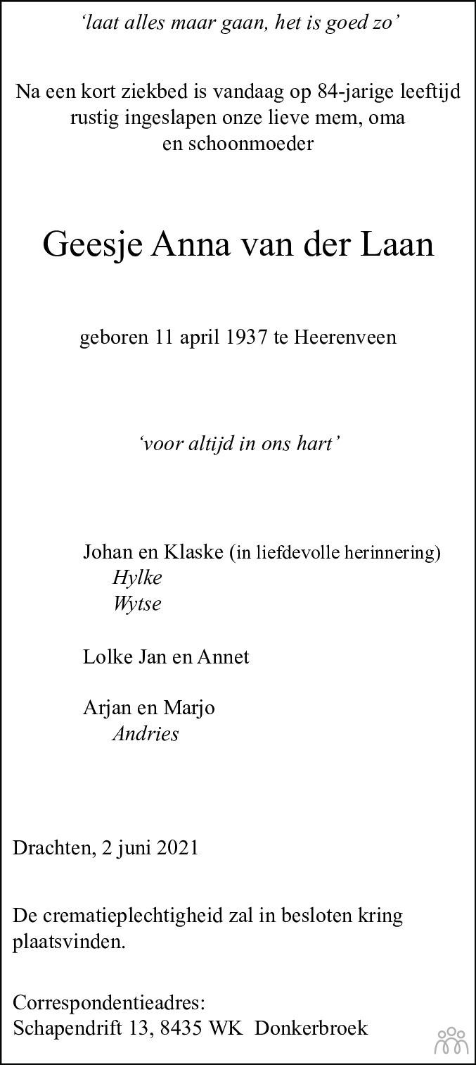 Overlijdensbericht van Geesje Anna van der Laan in Leeuwarder Courant