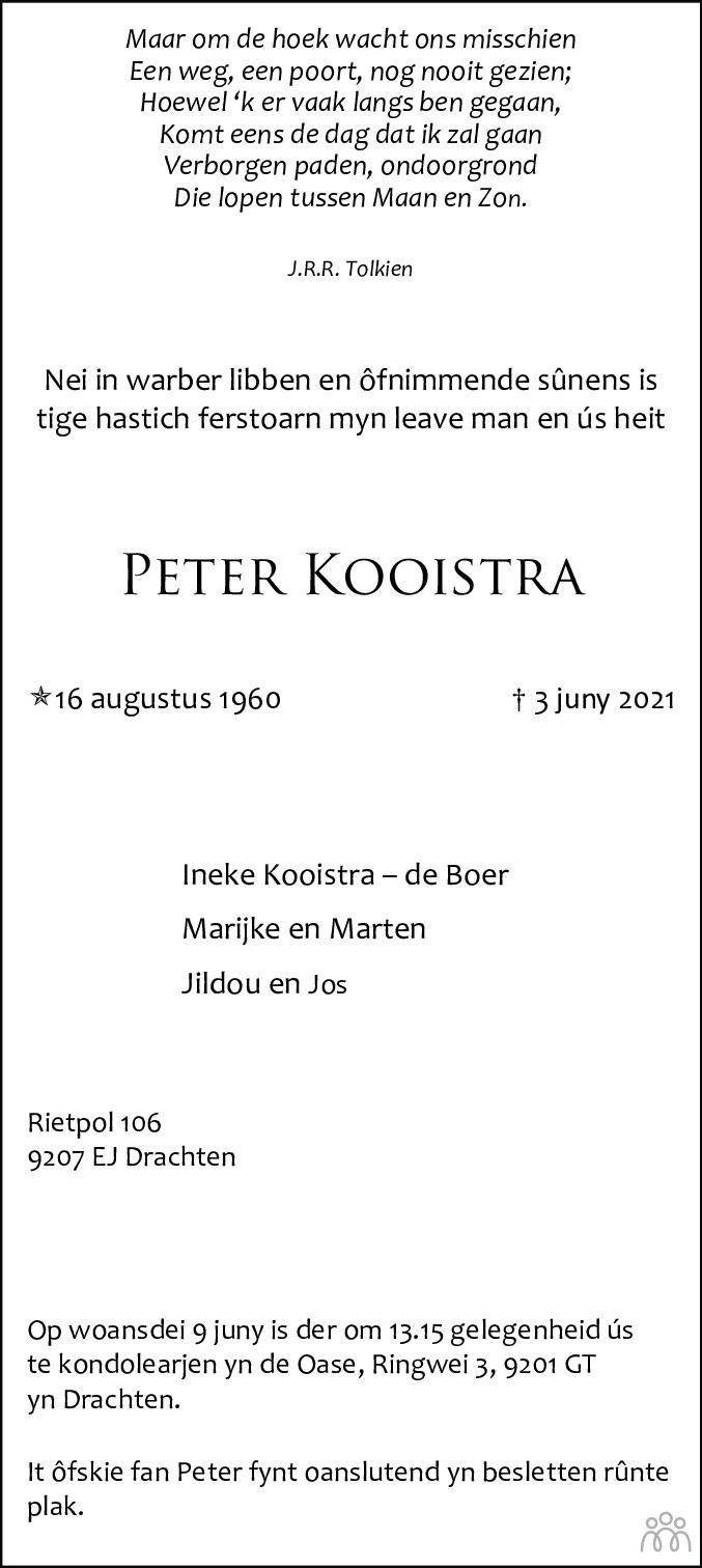 Overlijdensbericht van Peter Kooistra in Leeuwarder Courant