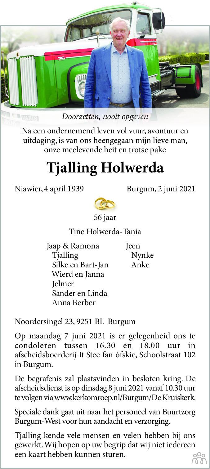 Overlijdensbericht van Tjalling Holwerda in Dagblad van het Noorden