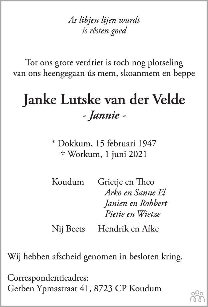 Overlijdensbericht van Janke Lutske (Jannie) van der Velde in Leeuwarder Courant