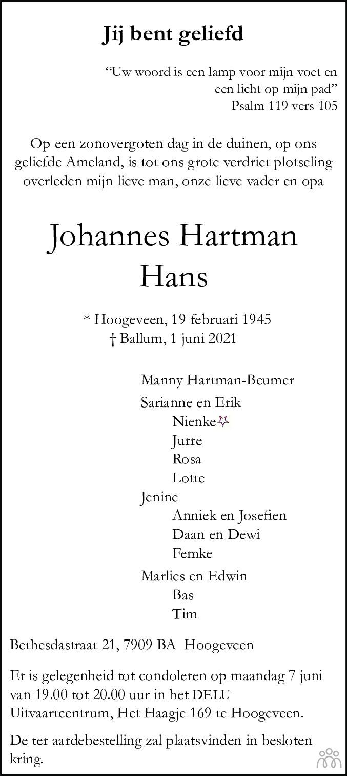 Overlijdensbericht van Hans (Johannes) Hartman in Hoogeveensche Courant