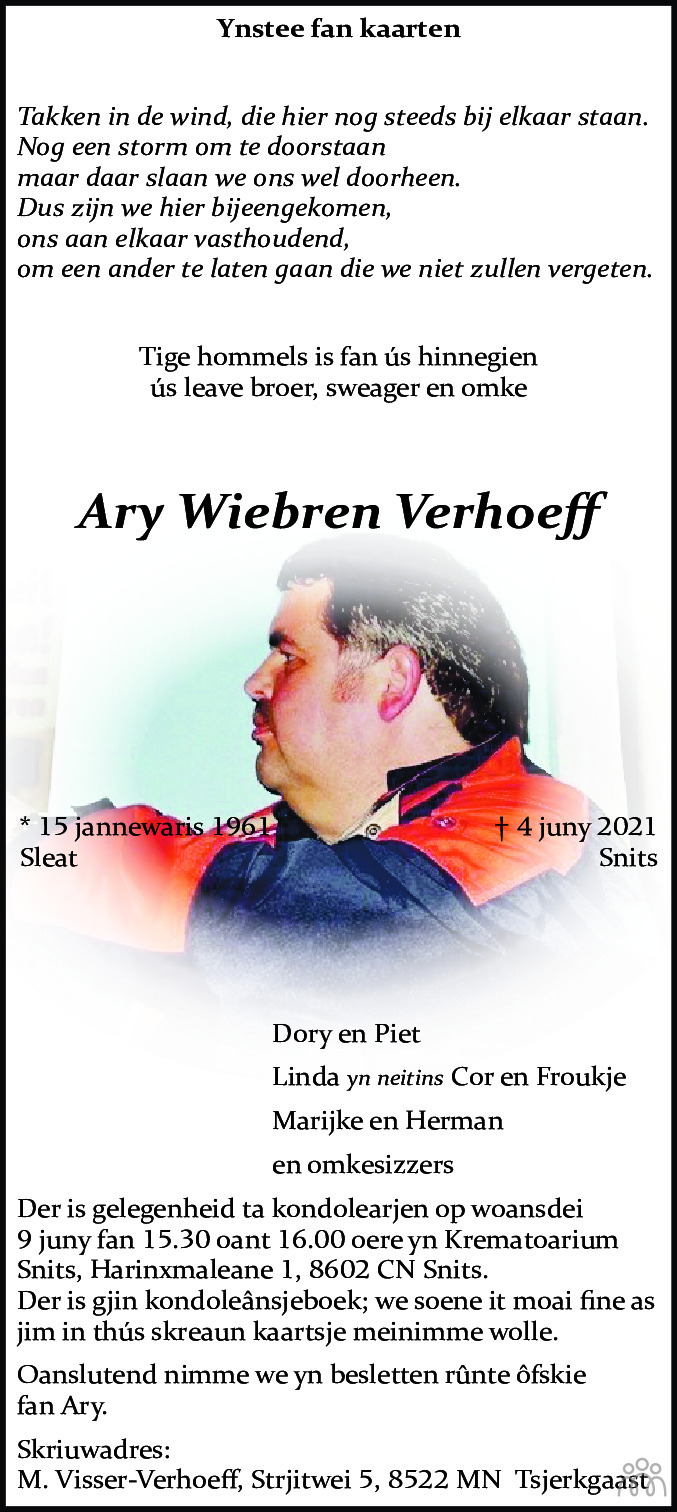 Overlijdensbericht van Ary Wiebren Verhoeff in Leeuwarder Courant