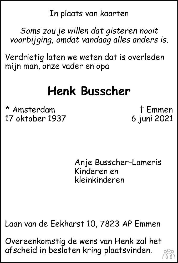 Overlijdensbericht van Henk Busscher in Dagblad van het Noorden