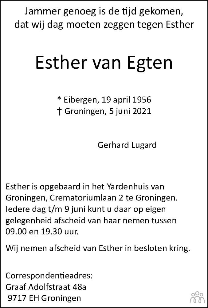 Overlijdensbericht van Esther Lugard-van Egten in Dagblad van het Noorden