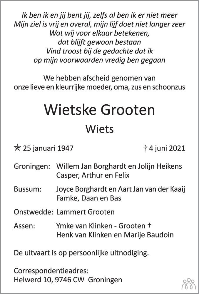 Overlijdensbericht van Wietske (Wiets) Grooten in Dagblad van het Noorden